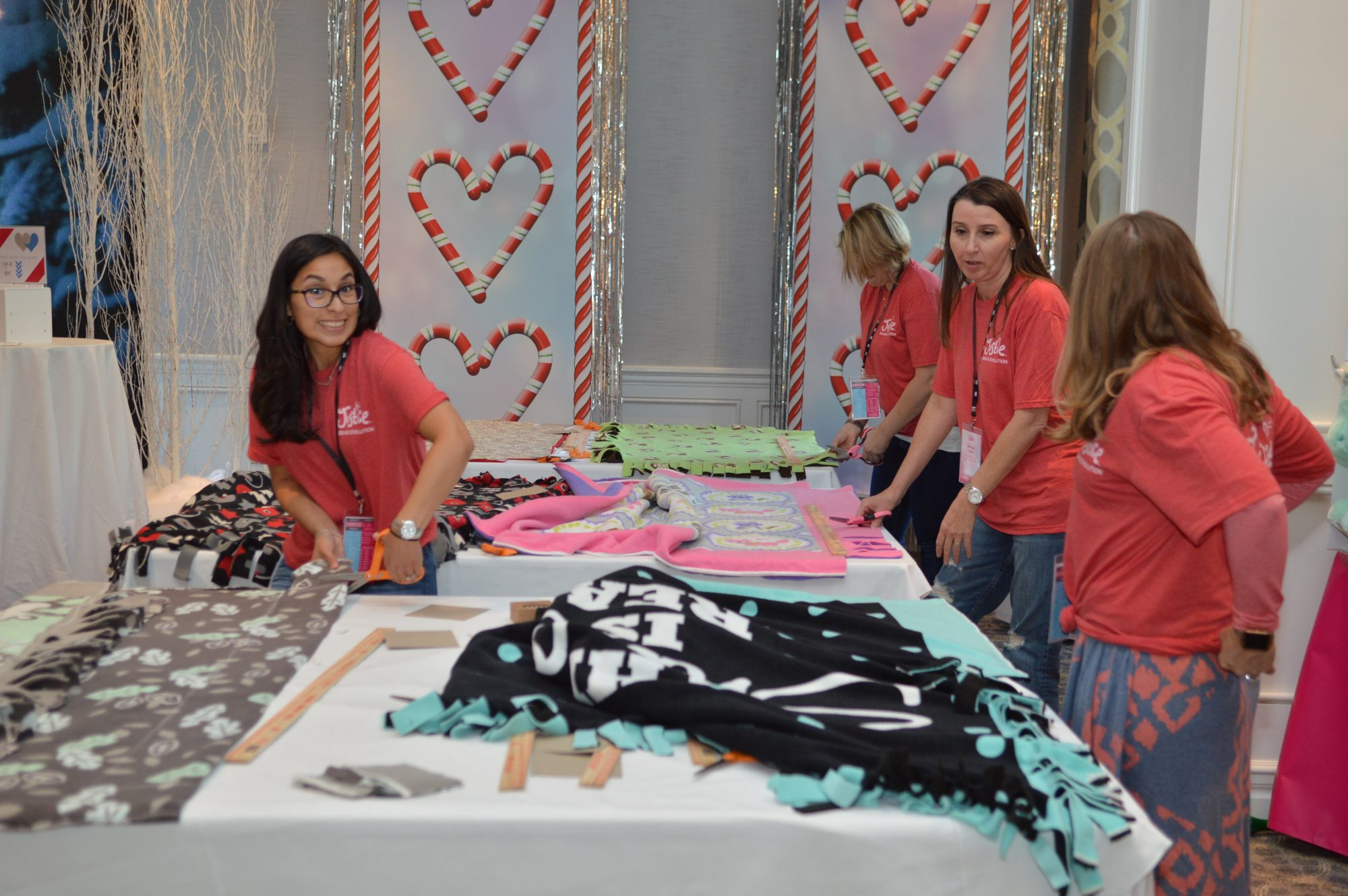 Justice associates making blankets for the children at Nationwide hospital